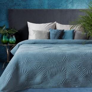 Tmavotyrkysový elegantný dekoračný prehoz na posteľ s prešívaním