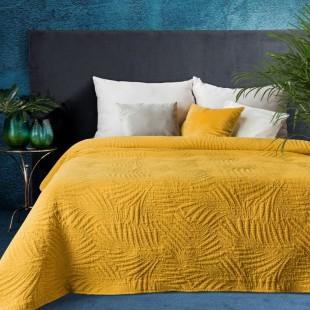 Horčicový elegantný dekoračný prehoz na posteľ s prešívaním