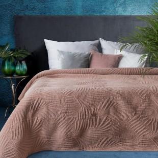 Ružový elegantný dekoračný prehoz na posteľ s prešívaním