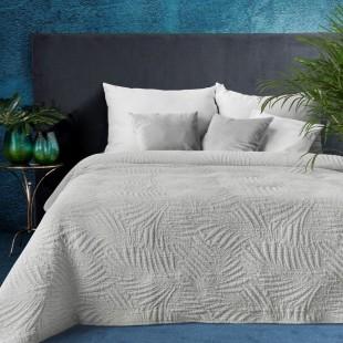 Sivý elegantný dekoračný prehoz na posteľ s prešívaním
