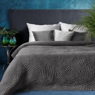 Tmavosivý elegantný dekoračný prehoz na posteľ s prešívaním