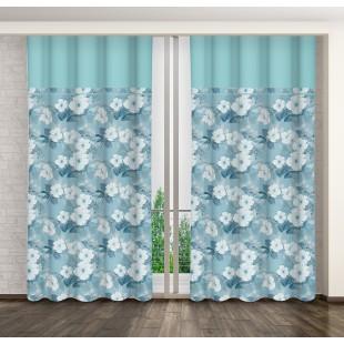 Modrý kvetovaný záves s riasiacou páskou