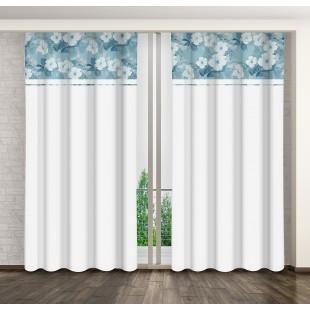 Biely záves s kvetinovým motívom a riasiacou páskou