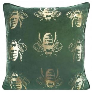 Zelená zamatová obliečka na vankúš so zlatými včielkami