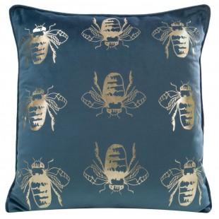 Modrá zamatová obliečka na vankúš so zlatými včielkami