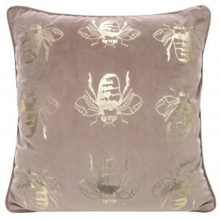 Ružová zamatová obliečka na vankúš so zlatými včielkami