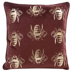 Červená zamatová obliečka na vankúš so zlatými včielkami