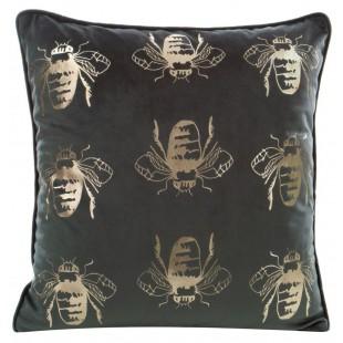 Tmavozelená zamatová obliečka na vankúš so zlatými včielkami