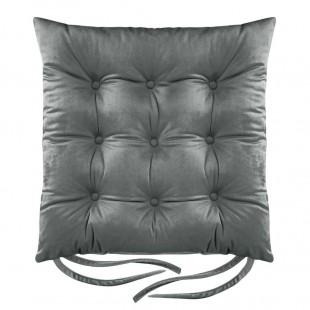 Tmavosivá zamatová poduška na stoličku s prešívaním