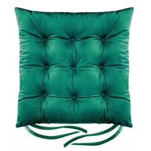 Zelená zamatová poduška na stoličku s prešívaním