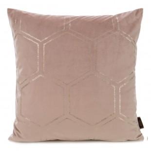 Ružová zamatová obliečka na vankúš so zlatým vzorom