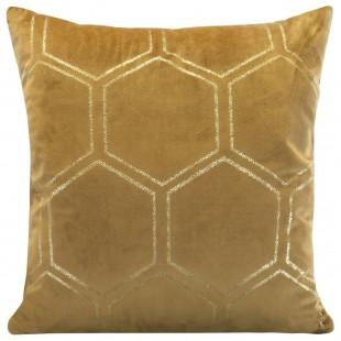 Medová zamatová obliečka na vankúš so zlatým vzorom