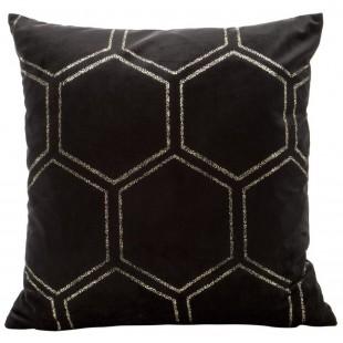 Čierna zamatová obliečka na vankúš so zlatým vzorom