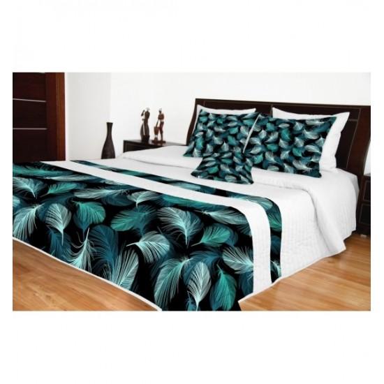 Moderný bielo čierny prehoz na posteľ s motívom tyrkysových pierok