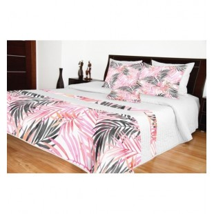 Biely prešívaný prehoz na posteľ s ružovými vetvičkami