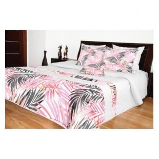 Elegantný biely prešívaný prehoz na posteľ s ružovým vzorom palmových listov