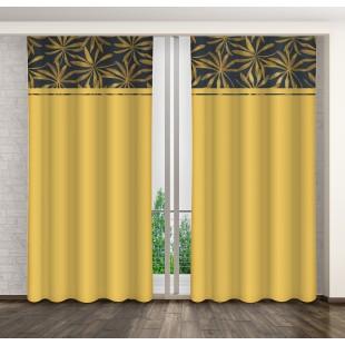 Horčicový záves s tmavomodrým pásom a zlatým rastlinným motívom