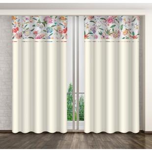 Krémový záves s farebnými kvetmi a riasiacou páskou