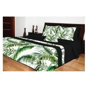 Prešívaná čierna prikrývka na posteľ so zelenými palmovými listami