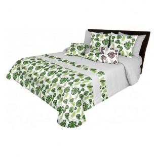 Bielo sivá prešívaná prikrývka na posteľ so zelenými palmovými listami