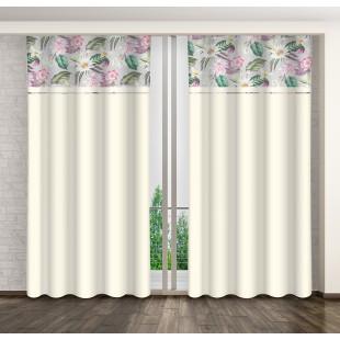 Krémový záves s ružovými kvetmi a sivým pásom