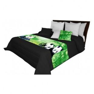 Moderný čierny prehoz na posteľ s motívom pánd