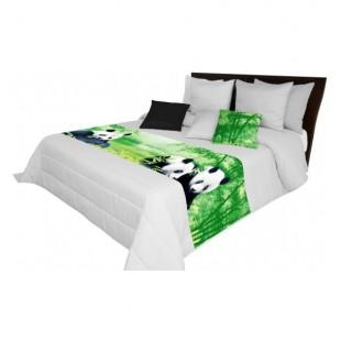 Svetlo sivá prešívaná prikrývka na posteľ s pandami