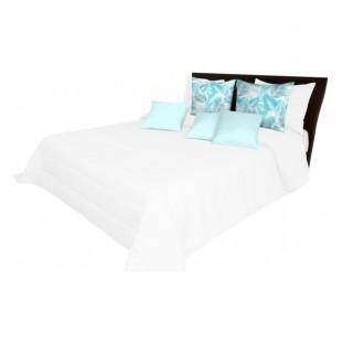 Biely prešívaný prehoz na posteľ jednofarebný