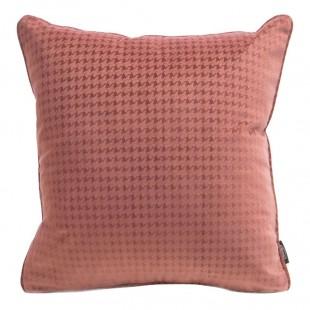 Ružová zamatová obliečka na vankúš s jemným vzorom