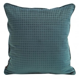 Tyrkysová zamatová obliečka na vankúš s jemným vzorom