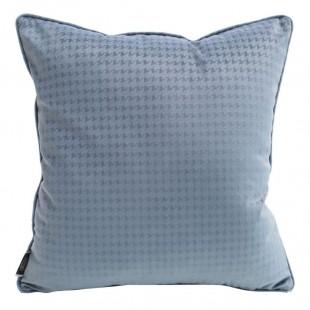 Modrá zamatová obliečka na vankúš s jemným vzorom
