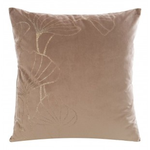 Béžová  zamatová obliečka na vankúš so zlatým motívom
