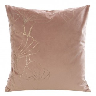 Ružová zamatová obliečka na vankúš so zlatým motívom