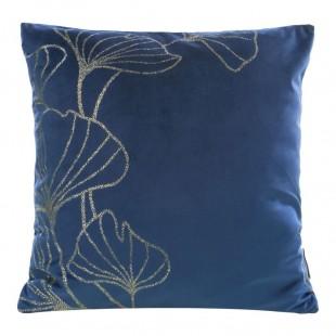 Modrá zamatová obliečka na vankúš so zlatým motívom