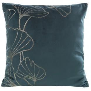 Tyrkysová zamatová obliečka na vankúš so zlatým motívom