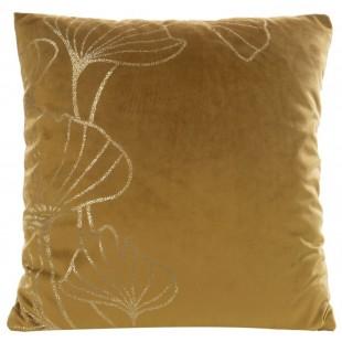 Hnedá zamatová obliečka na vankúš so zlatým motívom