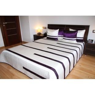 Krémový prehoz na posteľ s obliečkami na vankúš