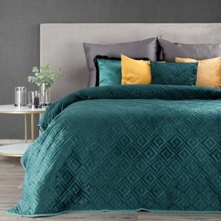 Tyrkysový zamatový prehoz na posteľ s prešívaním