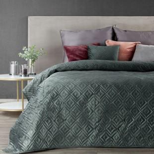 Tmavomentolový zamatový prehoz na posteľ s prešívaním