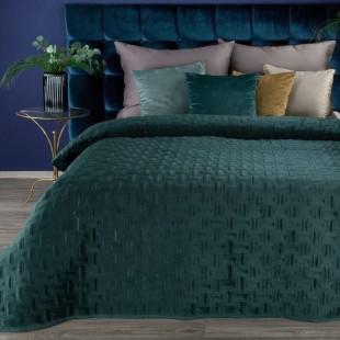 Jemný tmavotyrkysový zamatový prehoz na posteľ so vzorom