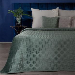 Jemný tmavomentolový zamatový prehoz na posteľ so vzorom