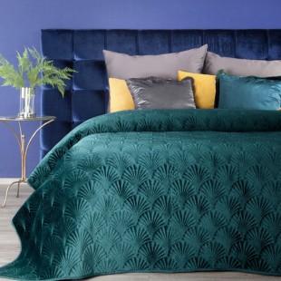 Tyrkysový zamatový prehoz na posteľ s prešívaným vzorom