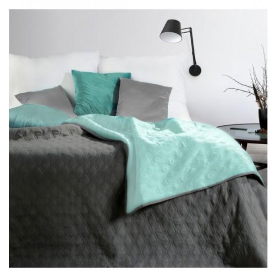 Obojstranný tmavosivo mentolový prešívaný prehoz na posteľ