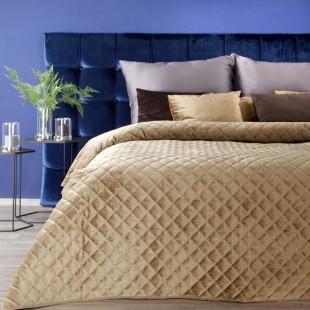 Medový zamatový prešívaný prehoz na posteľ