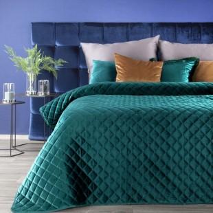 Tyrkysový zamatový prešívaný prehoz na posteľ