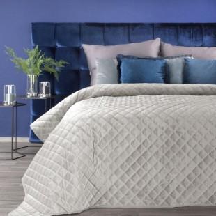 Krémový zamatový prešívaný prehoz na posteľ