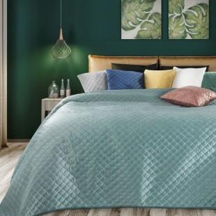 Mentolový zamatový prehoz na posteľ s polkruhmi