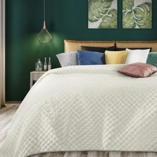 Krémový zamatový prehoz na posteľ s polkruhmi