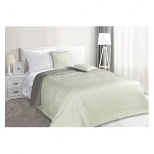 Plyšový obojstranný prehoz na posteľ mätovo sivej farby