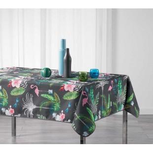 Sivý obrus na stôl s exotickým motívom